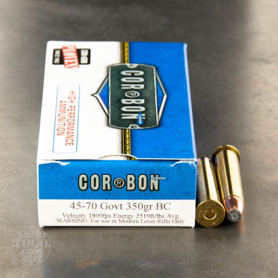 20rds - 45-70 Govt. Corbon Hunter 350gr. Bonded Core Soft Point Ammo