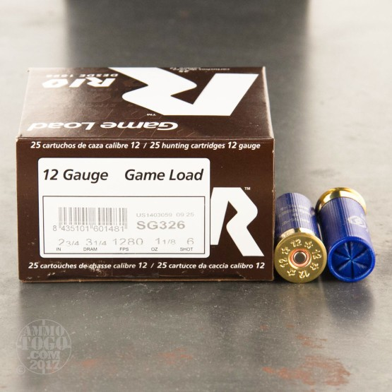 "25rds - 12 Gauge Rio Game Load 2 3/4"" 3 1/4 Dram 1 1/8 oz. #6 Shot Ammo"