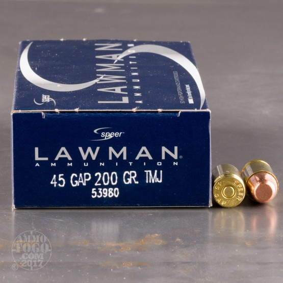 1000rds - 45 GAP Speer Lawman 200gr. TMJ Ammo