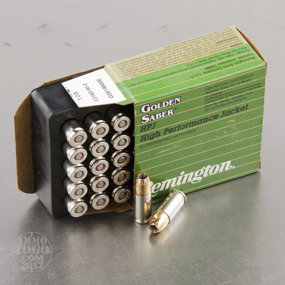 25rds - 9mm Remington Golden Saber 124gr. +P HP Ammo
