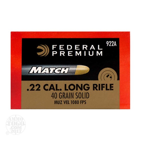 500rds – 22  LR Federal Gold Medal Match 40gr. Solid RN Ammo
