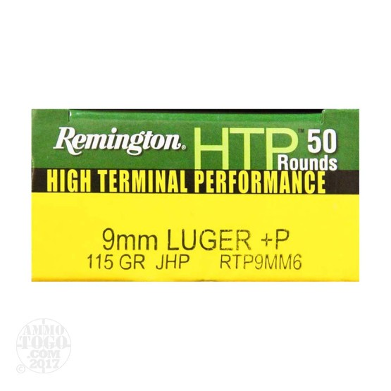 50rds - 9mm +P Remington HTP 115gr. JHP Ammo