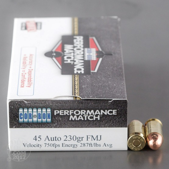 50rds - 45 Auto Corbon Performance Match 230gr. FMJ Ammo