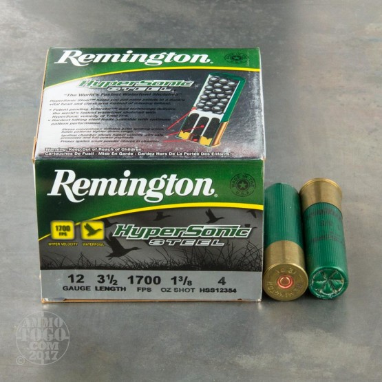 "25rds - 12 Ga. Remington HyperSonic 3 1/2"" 1 3/8oz #4 Non-Toxic Steel Shot Ammo"