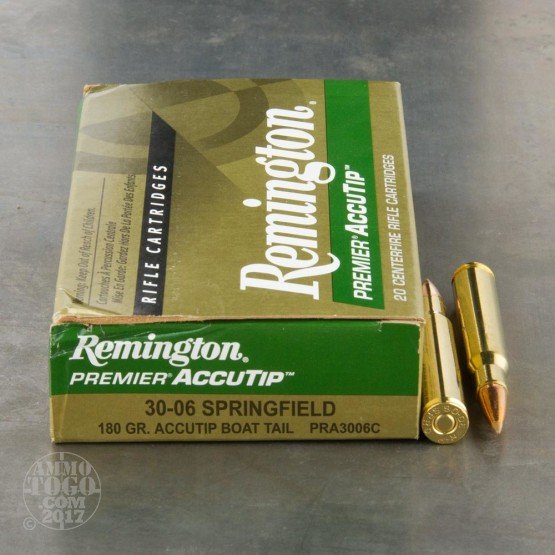 20rds - 30-06 Remington Premier 180gr. Accutip Boat Tail Polymer Tip Ammo