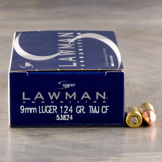 50rds - 9mm Speer Lawman 124gr. Cleanfire TMJ Round Nose Ammo