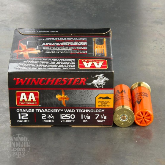 "250rds - 12 Gauge Winchester AA Orange TrAAcker 2 3/4"" 3 Dram 1 1/8oz. #7 1/2 Shot Ammo"