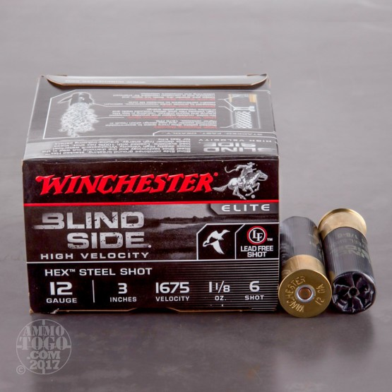 "25rds - 12 Gauge Winchester Blind Side High Velocity 3"" 1 1/8oz. #6 Steel Shot Ammo"