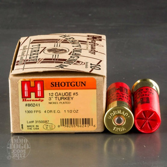 "10rds - 12 Gauge Hornady Heavy Magnum 3"" 1 1/2oz. #5 Turkey Load Ammo"