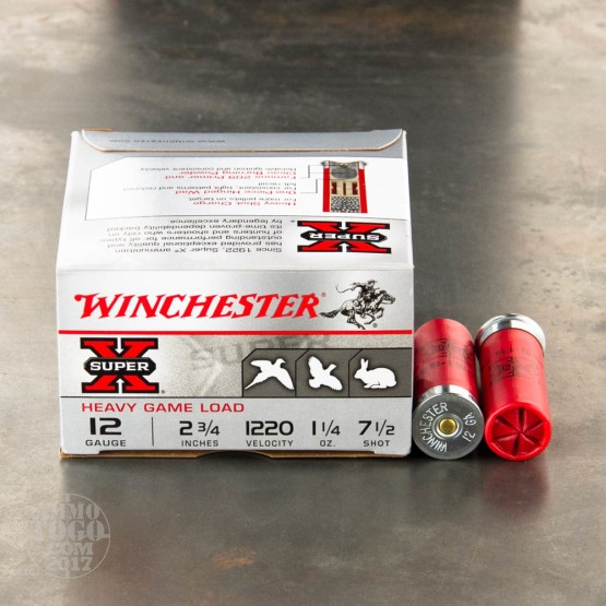 "25rds - 12 Gauge Winchester Super Pigeon Heavy Field 2 3/4"" 1 1/4oz. #7 1/2 Shot"