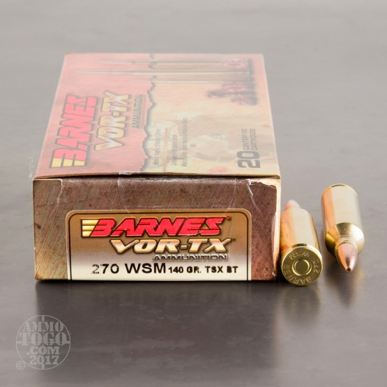 20rds - 270 WSM Barnes VOR-TX 140gr. TSX Boattail Hollow Point Ammo