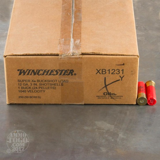 "250rds - 12 Gauge Winchester Super-X 3"" #1 Buffered Buck Ammo"