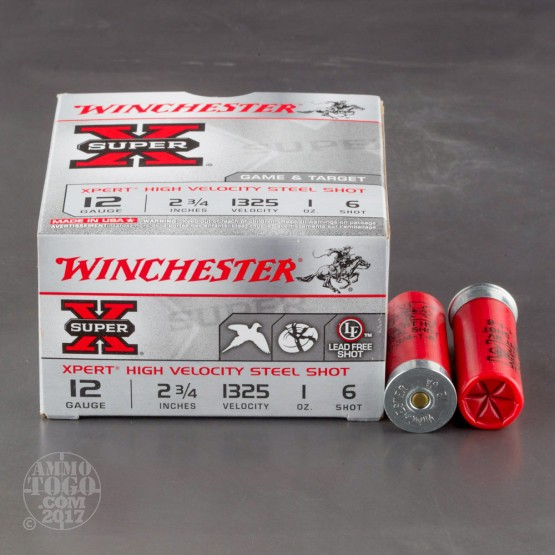 "25rds - 12 Gauge Winchester XPERT Game/Target  2 3/4"" 1oz #6 Steel Shot Ammo"