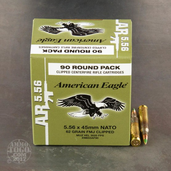 450rds – 5.56 Federal American Eagle AR 62gr. Clipped M855 FMJ Ammo