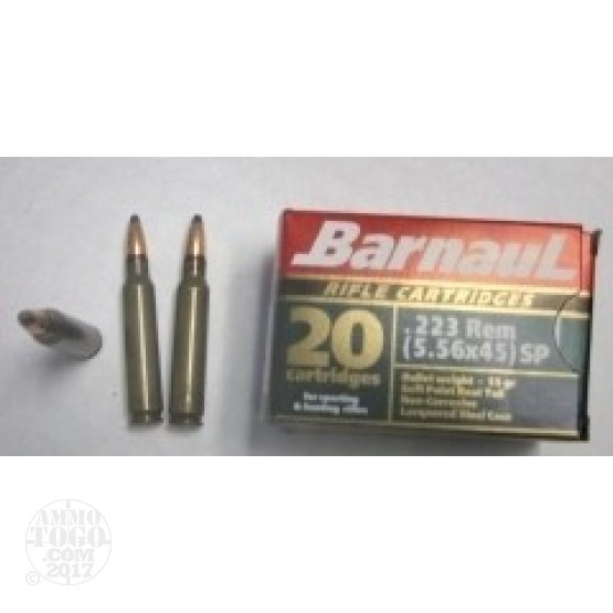 1000rds - .223 Barnaul 55gr. Soft Point Ammo
