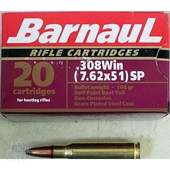 1000rds - .308 Barnaul Brass Plated 168gr. Soft Point Ammo