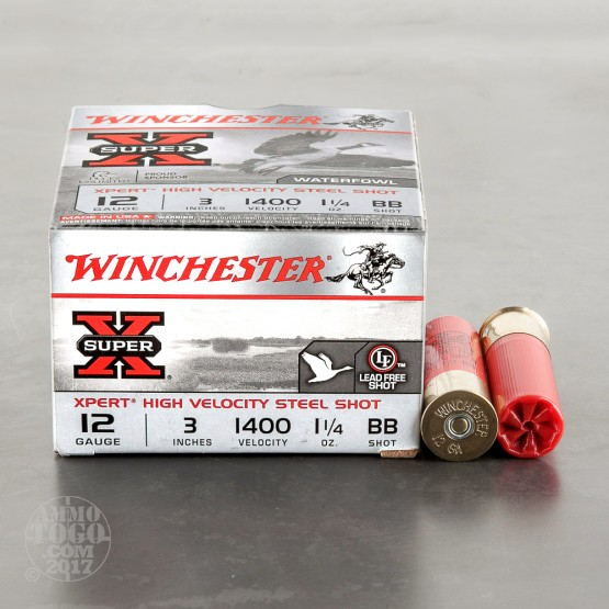 "25rds – 12 Gauge Winchester Super-X Xpert HV 3"" 1-1/4 oz BB Steel Shot Ammo"