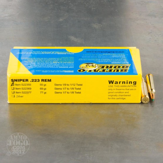 20rds - 223 Rem. Buffalo Bore Sniper 55gr. Polymer Tip Ammo