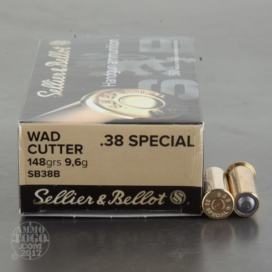 50rds - 38 Special Sellier & Bellot 148gr Wadcutter Ammo