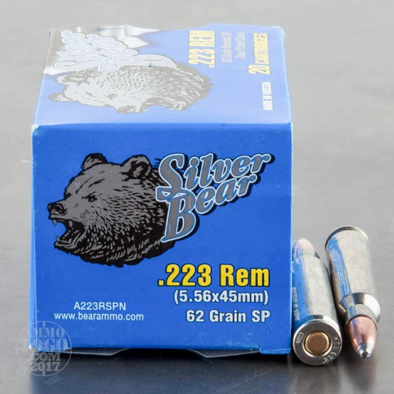 20rds - 223 Silver Bear 62gr. Soft Point Ammo