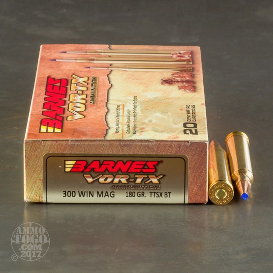 20rds - 300 Win. Mag Barnes VOR-TX Polymer Tip 180gr. Tipped TSX Boattail Ammo