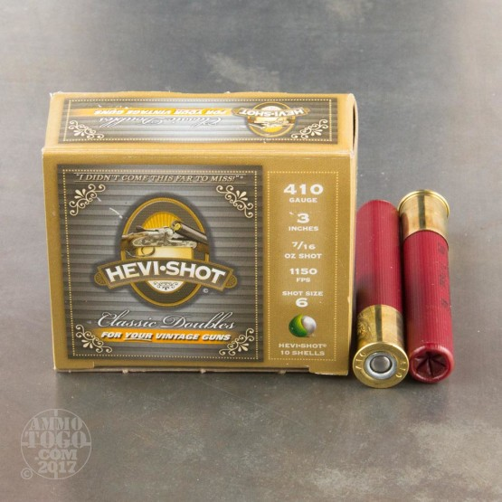 "10rds - .410 Gauge Hevi-Shot Classic Doubles 3"" 7/16oz. #6 Shot Ammo"