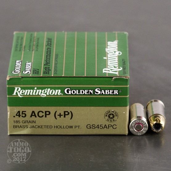 25rds - 45 ACP Remington Golden Saber 185gr. +P HP Ammo