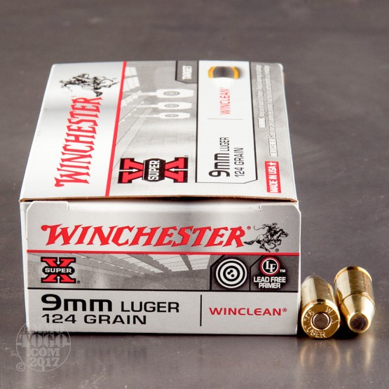 50rds - 9mm Winchester WinClean 124gr. Brass Enclosed Base (BEB)