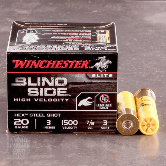 "25rds - 20 Gauge Winchester Blind Side HV 3"" 7/8oz. #3 Steel Shot Ammo"