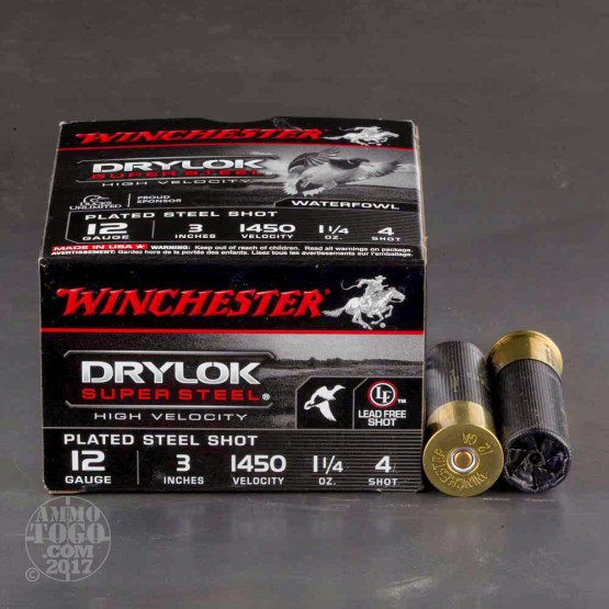 "12 Gauge - 3"" 1 1/4 oz. #4 Steel Shot - Winchester Drylok Super Steel High Velocity - 25 Rounds"