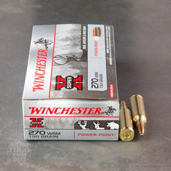 20rds - 270 WSM Winchester 150gr. Super-X Power-Point Ammo