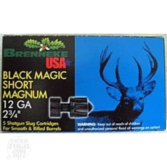 "5rds - 12 Gauge Brenneke Black Magic Short Magnum 2 3/4"" 1oz. Slug Ammo"
