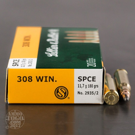 20rds – 308 Sellier & Bellot 180gr. SPCE Ammo