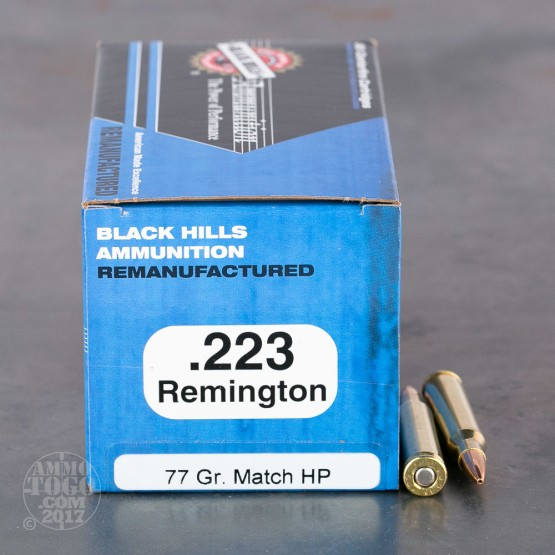 1000rds - 223 Black Hills 77gr. Re-Mfg. Sierra MatchKing HP Ammo