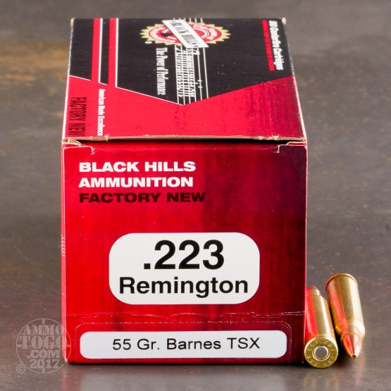 500rds - 223 Remington Black Hills 55gr. Barnes TSX HP Ammo