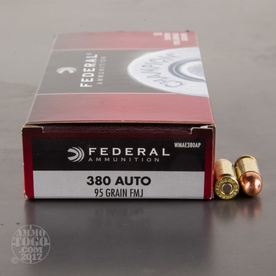 50rds - 380 Auto Federal Champion 95gr. FMJ Ammo