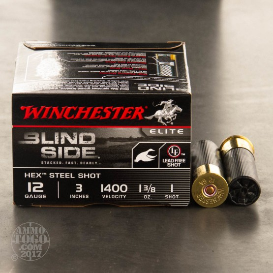 "25rds - 12 Gauge Winchester Blind Side 1 3/8 Ounce 3"" (#1 Hex Steel Shot) Ammo"