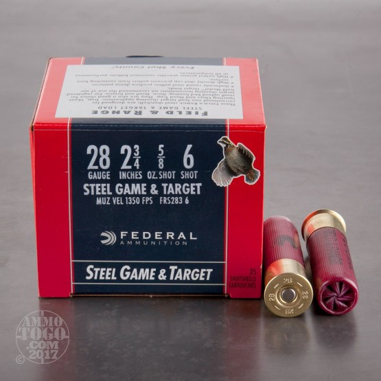 "25rds - 28 Gauge Federal Steel Game and Target  2 3/4""  5/8oz. #6"