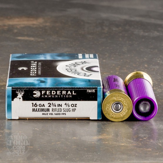 "5rds - 16 Gauge Federal Power Shok 2 3/4"" 4/5oz. Rifled Slug HP Ammo"
