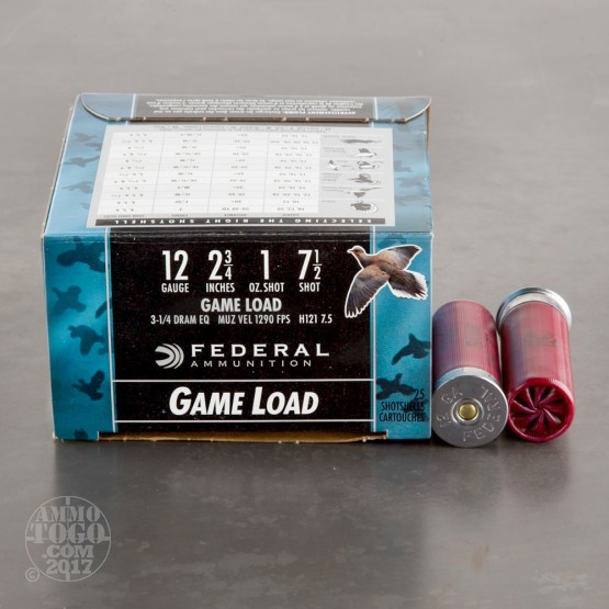 "250rds - 12 Gauge Federal Game Shok 2 3/4"" 1oz. #7 1/2 Shot Ammo"