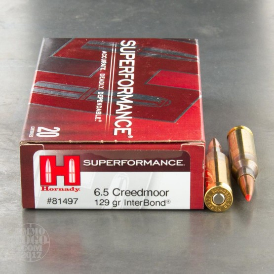 20rds - 6.5 Creedmoor Hornady Superformance 129gr. InterBond Ammo