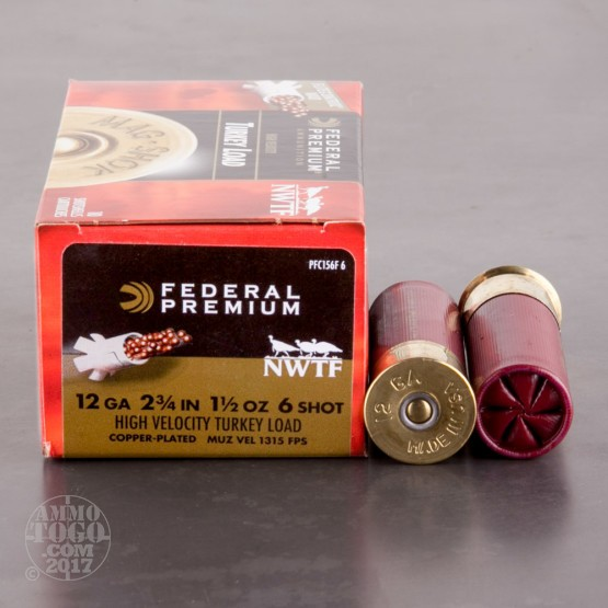 "100rds - 12 Gauge Federal Mag-Shok 2 3/4"" 1 1/2oz. #6 Turkey Load"