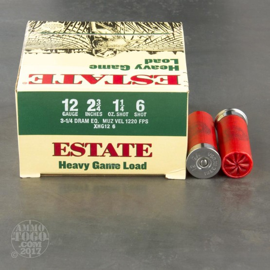 "25rds - 12 Gauge Estate Heavy Game Load 2 3/4"" 3 1/4 Dram 1 1/4oz. #6 Shot Ammo"