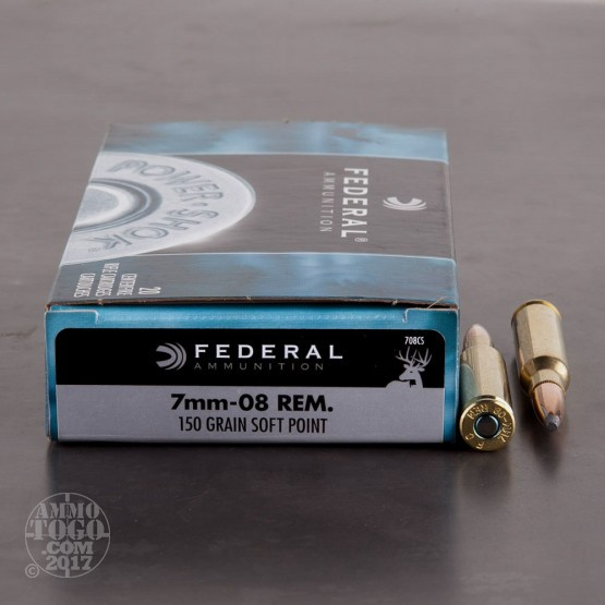 20rds - 7mm-08 Rem Federal Power-Shok 150gr. Soft Point Ammo