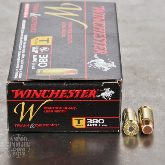 500rds - 380 Auto Winchester W Train and Defend 95gr. FMJ Ammo