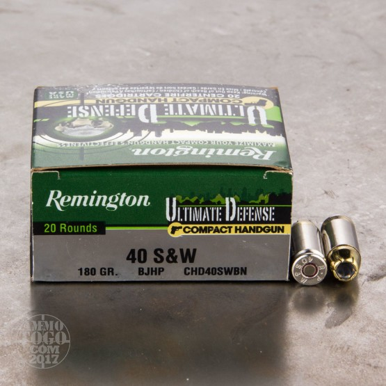 20rds - .40 S&W Remington Ultimate Defense Compact Handgun 180gr. BJHP Ammo