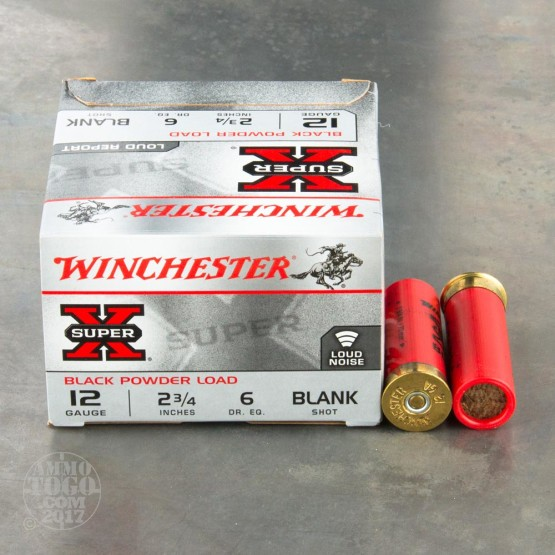 "25rds - 12 Gauge Winchester Super-X 2 3/4"" Black Powder Blank Ammo"