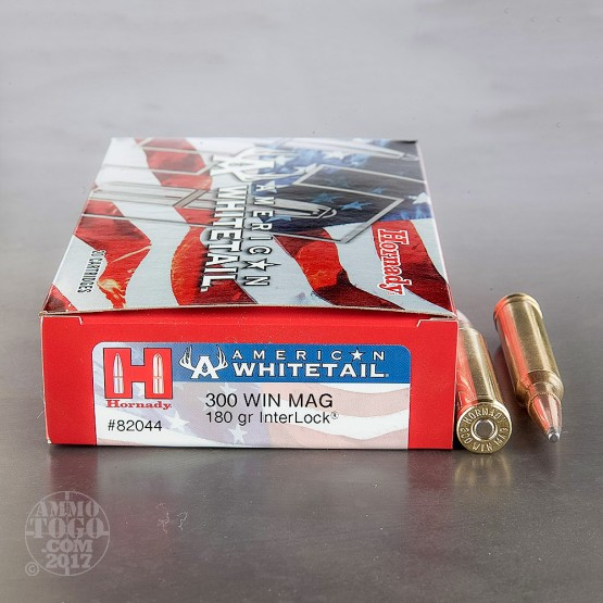 20rds – 300 Win. Mag Hornady American Whitetail 180gr. Interlock Ammo