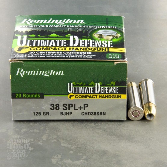 20rds - 38 Special Remington Ultimate Defense Compact Handgun 125gr. +P BJHP Ammo