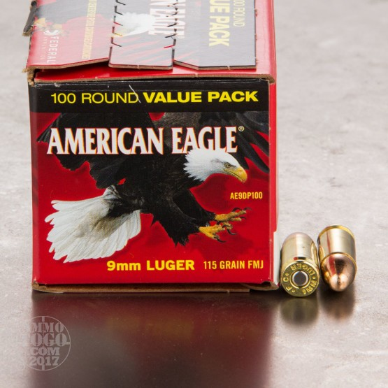 100rds - 9mm Federal American Eagle 115gr. FMJ Ammo